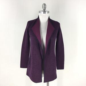 Talbots S P Purple Merino Wool Open drape cardigan